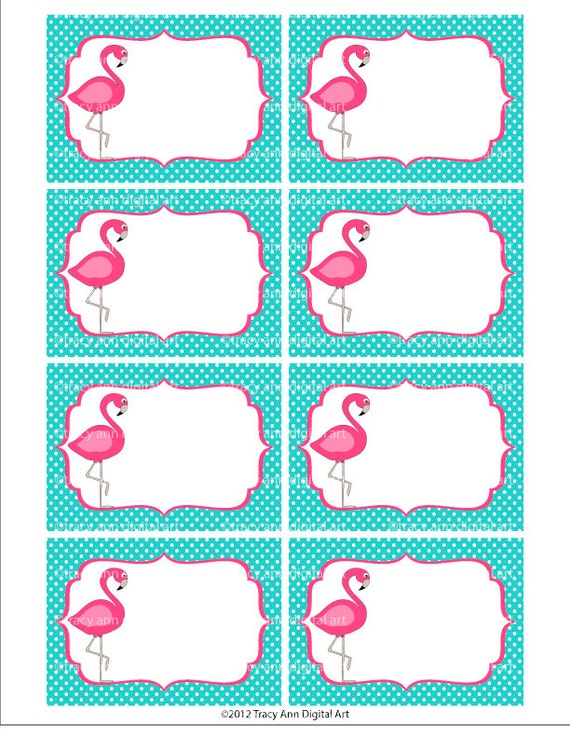Pink Flamingo Printable Labels Or Buffet By Tracyannprintables