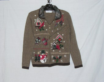 Ugly Christmas Sweater, Victoria Jones Recycled Sweater, Brown, Birds and Santa