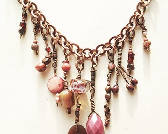Spill The Wine Necklace, found sea Glass, lampwork bead, shell, agate, garnet, jasper, copper, one of a kind