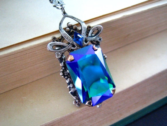 Megara---Swarovski X-large Emerald Glacier Blue rectangle crystal,aged silver brass victorian necklace