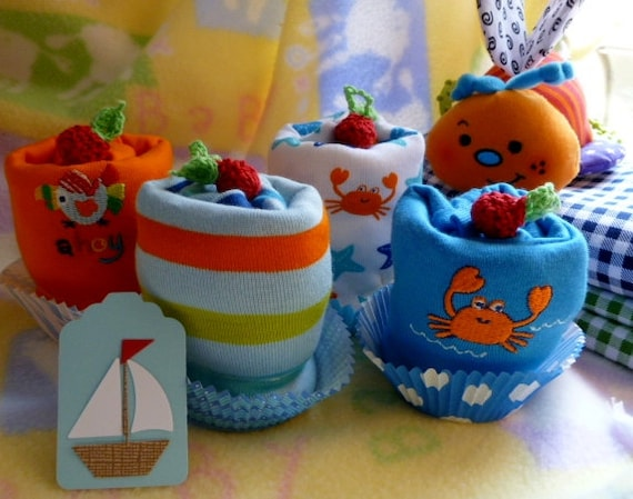 Boy Onesie Cupcakes...Boats, Fish, Whale, Sea Turtle, Crab, Sailor, Nautical...Baby Shower...Baby Gift