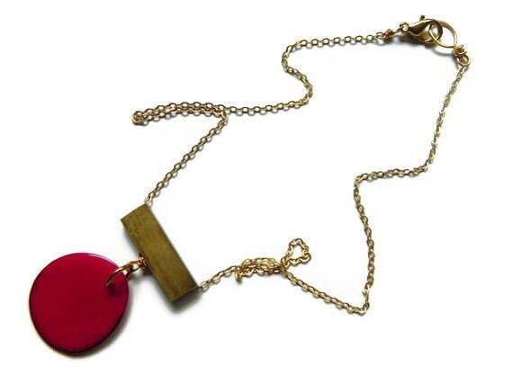 Tagua pendant necklace, eco friendly tagua slice pendant necklace, eclectic tagua necklace