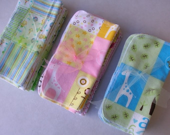 36 Cloth Baby Wipes, Starter Set, All Girl, All Boy, or All Baby, 3 Dozen Flannel Wipes