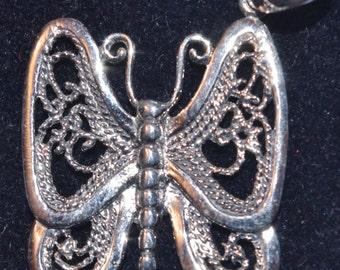 Vintage - Filigree Sterling Silver  Butterfly Pendant