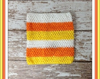 "X-Large 10"" Crochet Tutu Tube Top - Candy Corn"
