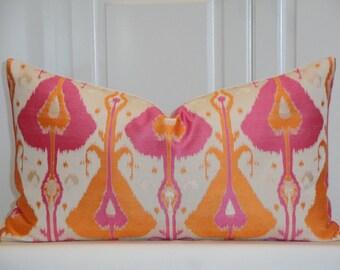 Decorative Pillow Cover - IKAT -  Fit 12 x 22 - Accent Pillow - Throw Pillow  - Orange - Pink