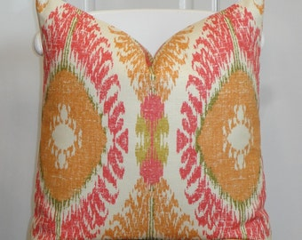BOTH SIDES  - Decorative Pillow Cover - Pink - Orange  - Green -  IKAT - Accent Pillow - Cushion cover - Pillow Case