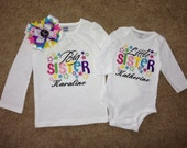Embroidered - Big sister/Little Sister or Brother shirts with stars and personalization  - choose short or long sleeve
