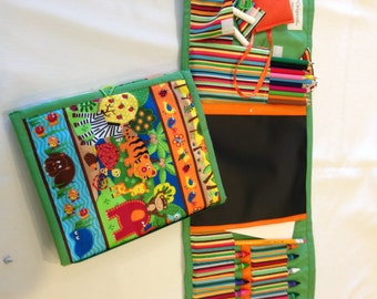Safari  Art Tote complete with chalkboard, chalk, eraser, paper pad, pencil, crayons, and colored pencils