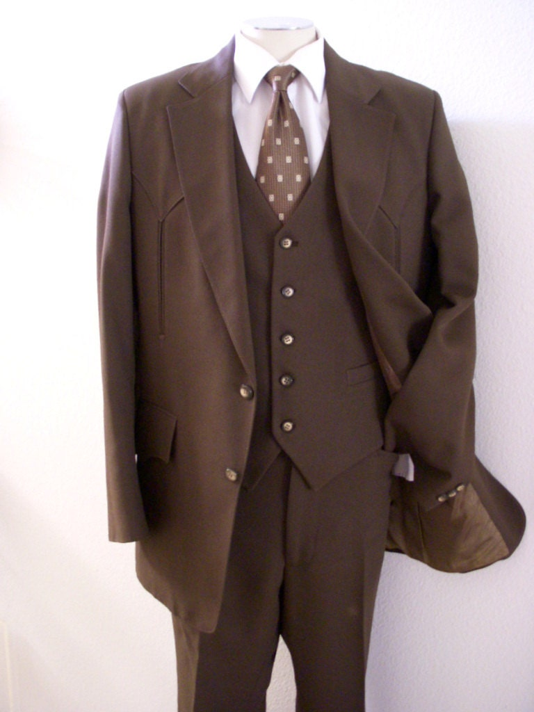 50s 60s vintage mens h bar c ranchwear suit brown western. Black Bedroom Furniture Sets. Home Design Ideas