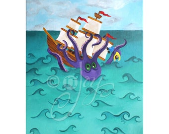 Children's Wall Art, KRAKEN ATTACK, 16x20 Acrylic Canvas, Kids Room Decor,