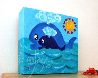 Blue Nursery Art, MAMA LOVE WHALES No.3, 5x5 Acrylic Painting for Childrens Room or Baby Room