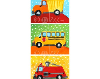 Childrens Wall Art for Boys / Transportation Art Dump truck, Fire Engine, Bus / Boys Nursery Art / Bright Colors