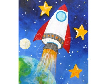 Rocket Blast Off, Space Wall art for Children, 16x20 PRINT, Art for boys room or nursery
