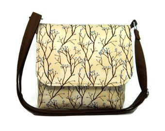 Small Cross Body Messenger Purse, Fabric Pocketbook, Hip Bag, Spring Purse  - Pussy Willow Trees on Tan
