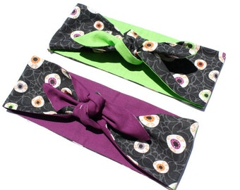 Vintage Inspired Head Scarf, Eyeballs, Purple or Green, Rockabilly