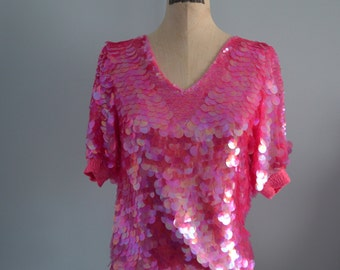 Vintage OLEG CASSINI Pink Round Sequined Top Blouse Free Shipping US