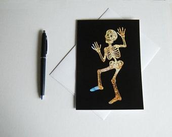 Mexico Map // Dia De Los Muertos Greeting Card // Day of the Dead Skeleton // Halloween 5 x 7 Art