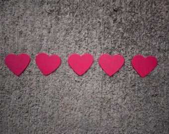 100 Red Paper Hearts - Red card stock hearts - Heart confetti - Ready to Ship