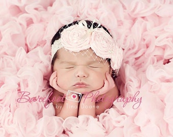 baby headband, flower girl headband, veil newborn headband, pink, teal