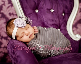 purple newborn Headband, baby headband, infant headband, baptism headband
