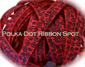 New Wonkie Swirls Glitter Grograin ribbon 5 yards- 3/8 inch Fuschia/Black Sparkle Swirls hair bow craft trim ribbon
