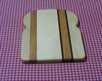 Bread Shaped Cutting Board. Sandwich Board. Trivet.  Maple Cherry Walnut. Free Shipping