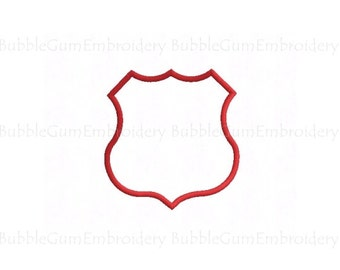 Shield Applique Embroidery Design Instant Download