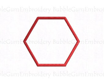 Hexagon Applique Embroidery Design Instant Download