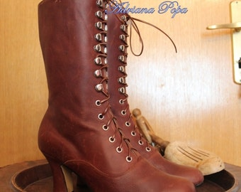Brown Victorian Boots Lace up in Suede Brown Chocolate leather High Heels ORDER your size also for strong feet and wide calf