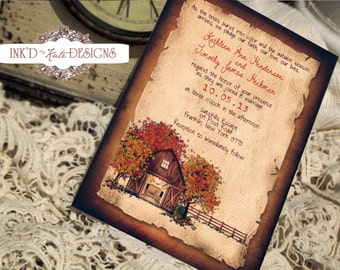 Vintage Rustic Autumn Wedding Invitation