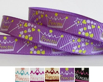 PRINCESS 3/8 grosgrain ribbon in yellow on purple - 5 yards (other colors also available)