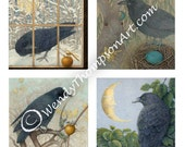Ravens Four Seasons Note card set - Raven art - Set of 4, Corvid fantasy luna moon, Celtic Eostre hare, Spring Summer Autumn Winter