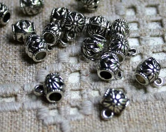 50pcs Beads Antiqued Silver Finished Pewter 8x7mm Barrel With Loop 3.5mm Hole