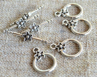 10pcs Clasp Toggle 14mm Single Sided Design Antiqued Silver Plated Pewter