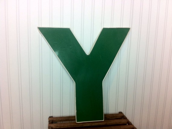 Industrial Letter Y // Vintage Sign Letter // Capital Letter Decor