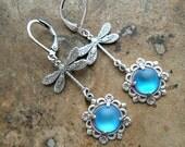 Blue Lagoon Dragonfly Earrings in Silver