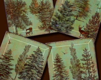 Green Patina and Brown Trees  - Geoforms- Handmade Decoupage Glass Beveled Coaster Set - Green Patina A Walk in the Woods
