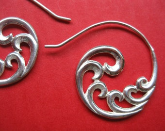 Sterling silver tribal swirl earrings Handmade hoops Fractal in flow