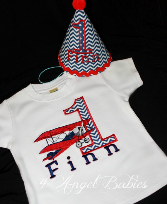 Vintage Navy Blue Dot or Chevron and Red BIPLANE Airplane Boys or Girls Birthday Applique Shirt or Body Suit with NAME Pick your Colors