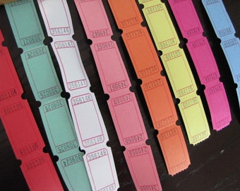 Carnival Tickets-Blank Tickets-100 tickets-8 different colors
