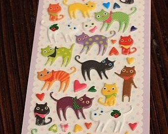 Cat Stickers-Kitty Decals-Puffy PVC Stickers-Scrapbooking Stickers-Embellishment