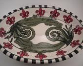Oval Alligator & Fleur de Lis Platter