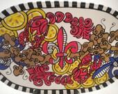 Oval Crawfish & Fleur de lis Platter