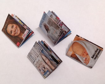 """Dolls House Miniatures -  4 x Picturial Magazines - Royal Baby """"Cambridge"""" 1/12th"""