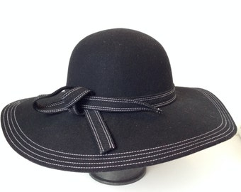 100 Percent  Wool Plain Floppy Sun Hat Black with white stitching and knotted band (15.5 inches full length)