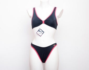 hight cut 90s bikini NOS Vintage black and hot pink Size S
