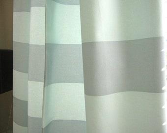 Curtain, Valance, Cafe, Window Curtain, Designer Aqua Horizontal Striped Curtain Valance or Cafe