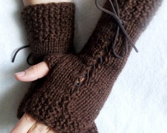 Knit Fingerless Corset  Gloves Wrist Warmers in Dark Brown  with Suede Ribbons Victorian Style