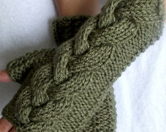Fingerless Gloves Cabled Khaki Green Wrist Warmers Warm Soft Handknit Fall Fashion